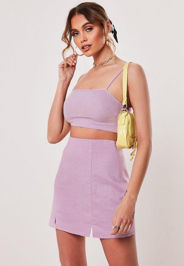 8dbf9d9b770b White Co Ord Linen Blend Split Hem Mini Skirt | Missguided Australia