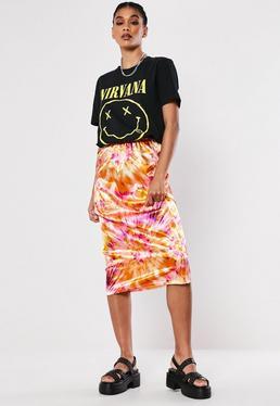 7b4b44595f1d03 Pink Tie Dye Satin Slip Skirt
