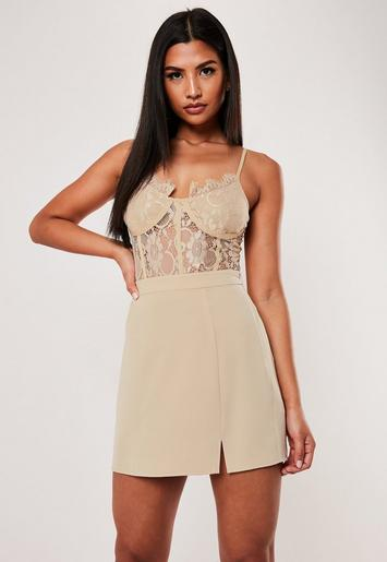 Stone Co Ord Side Split A Line Mini Skirt by Missguided