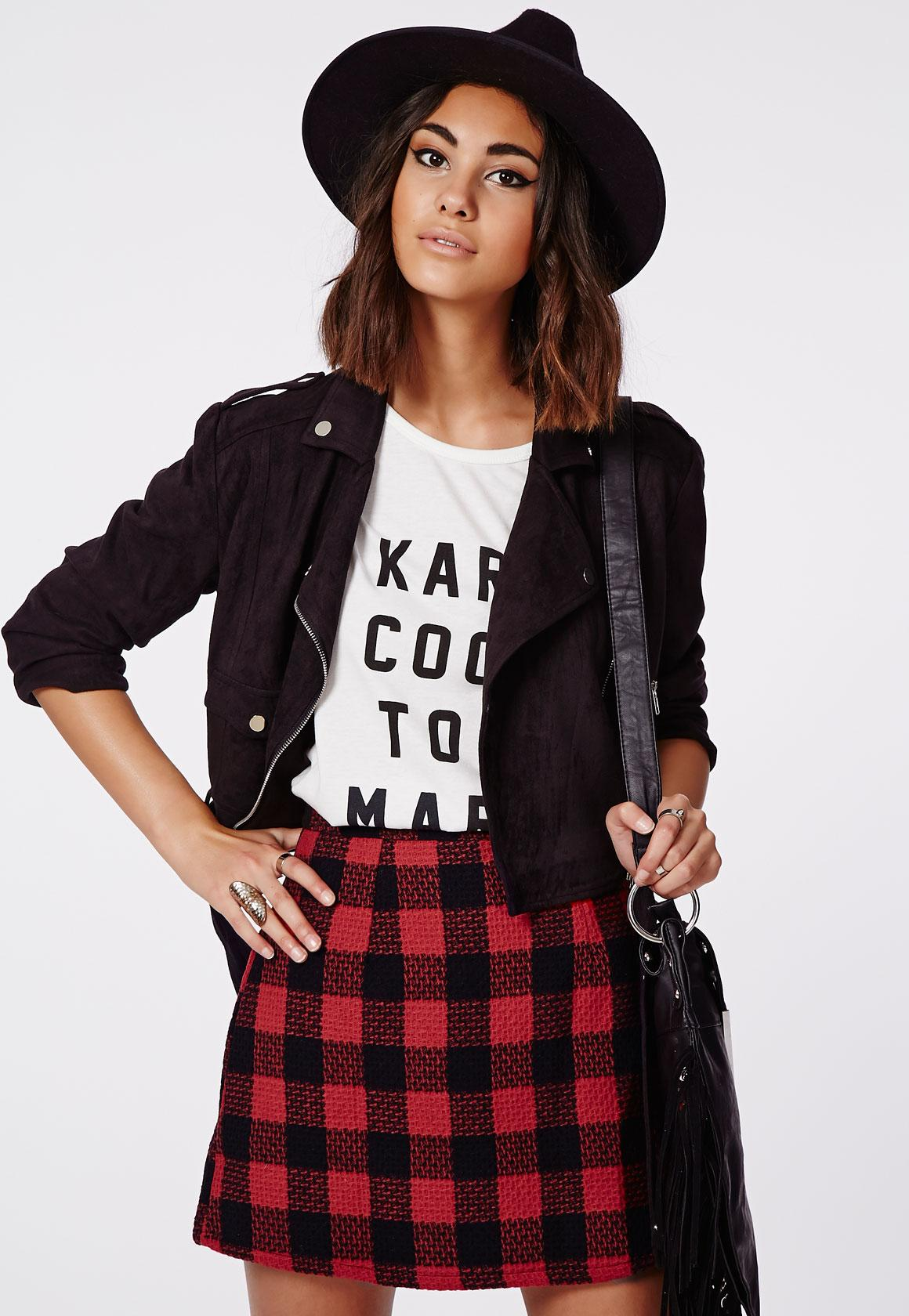 Ellie Wool Check A-Line Skirt Red - Skirts - Missguided