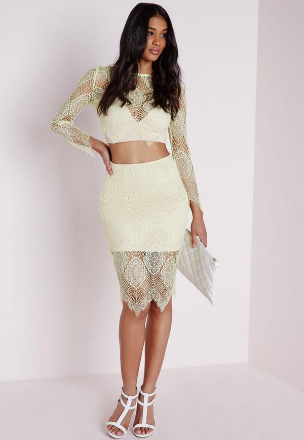 Eyelash Lace Midi Skirt Yellow