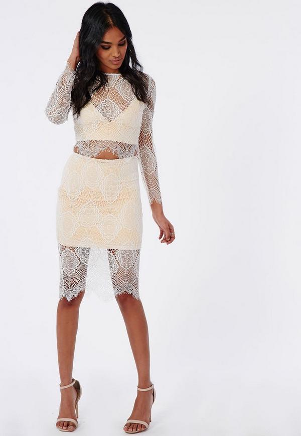 Eyelash Lace Midi Skirt White