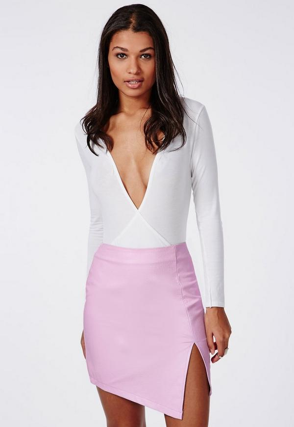 Textured Faux Leather Asymmetric Skirt Pink