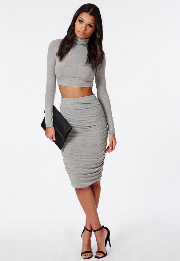 Ruched Seam Midi Skirt Grey 1