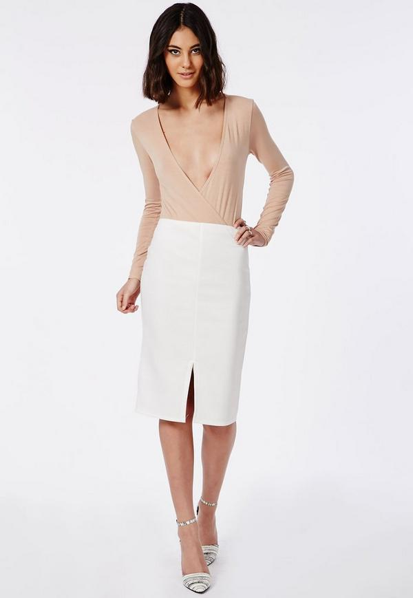 Kabrie Midi Skirt With Front Split White