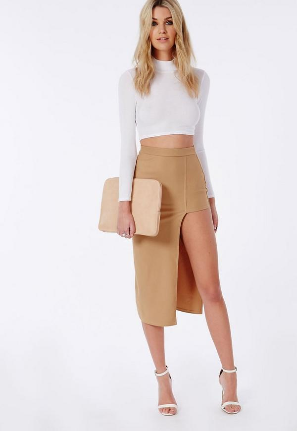 Asymmetric Split Midi Skirt Camel