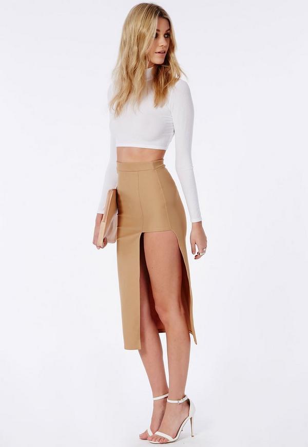 asymmetric split midi skirt camel missguided australia