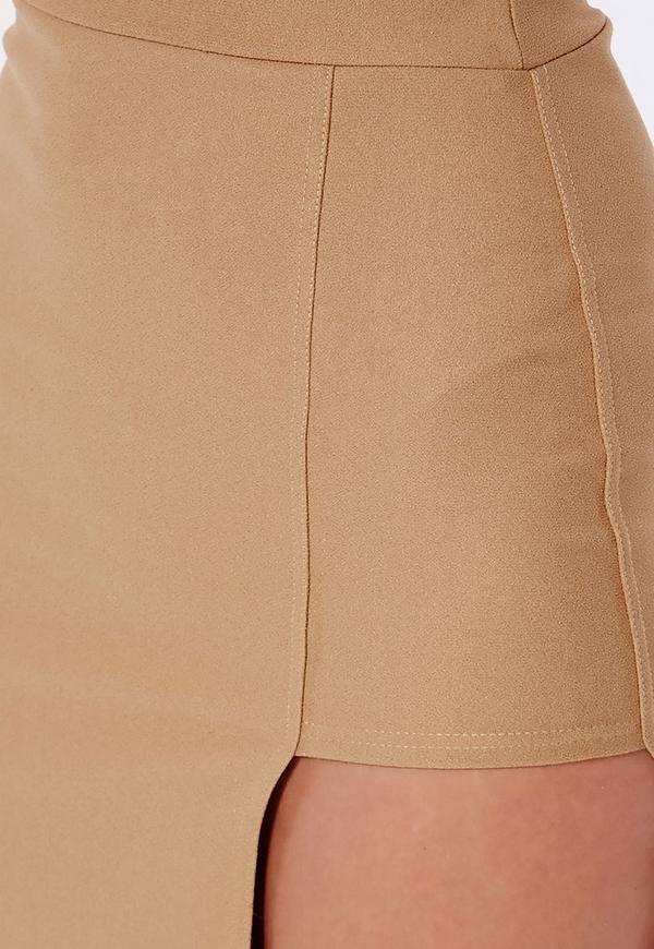 asymmetric split midi skirt camel missguided