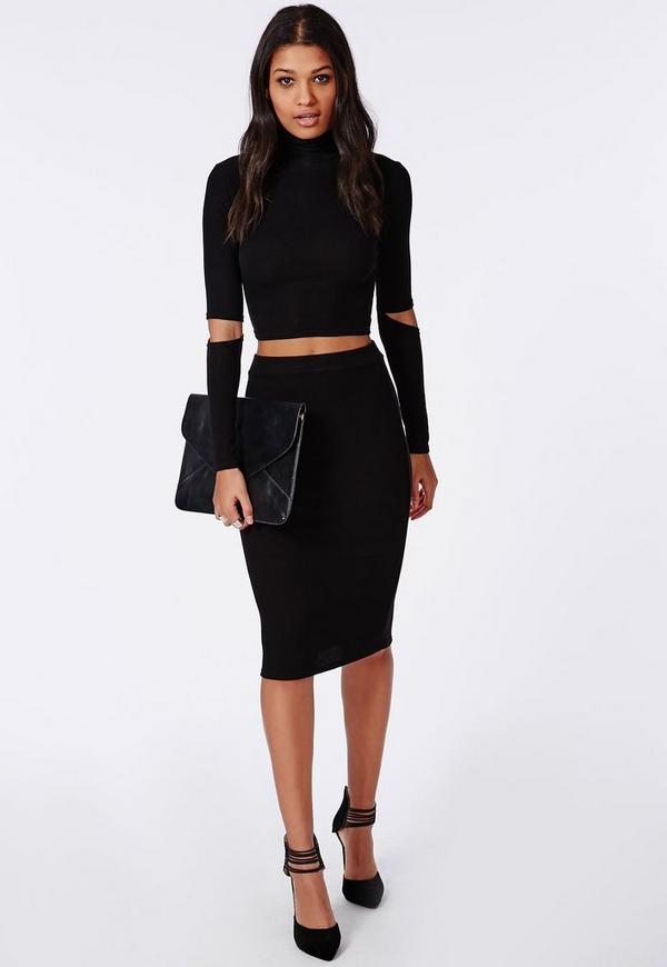 Ribbed Bodycon Midi Skirt Black