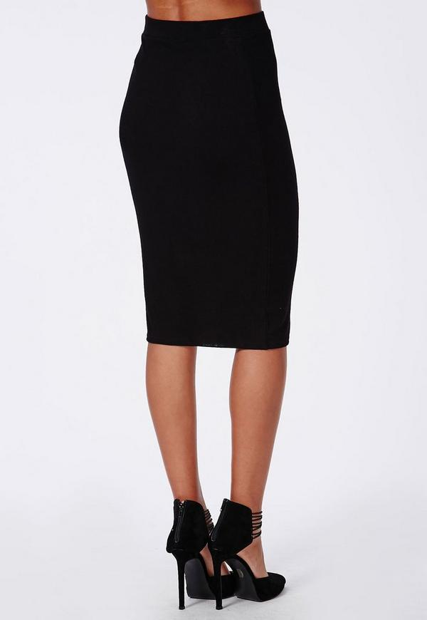 Ribbed Bodycon Midi Skirt Black - Skirts - Missguided