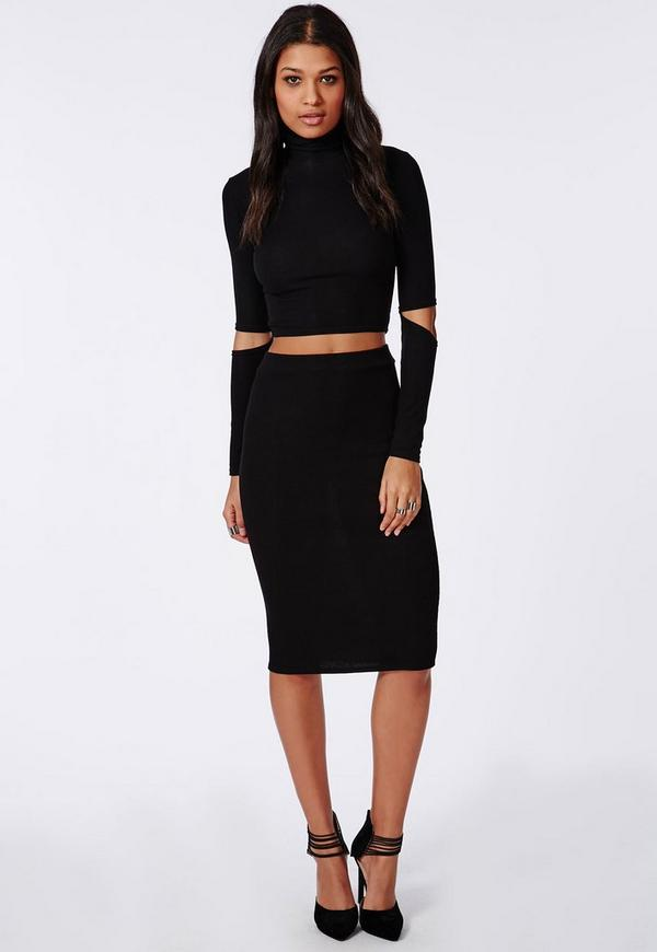 ribbed bodycon midi skirt black missguided