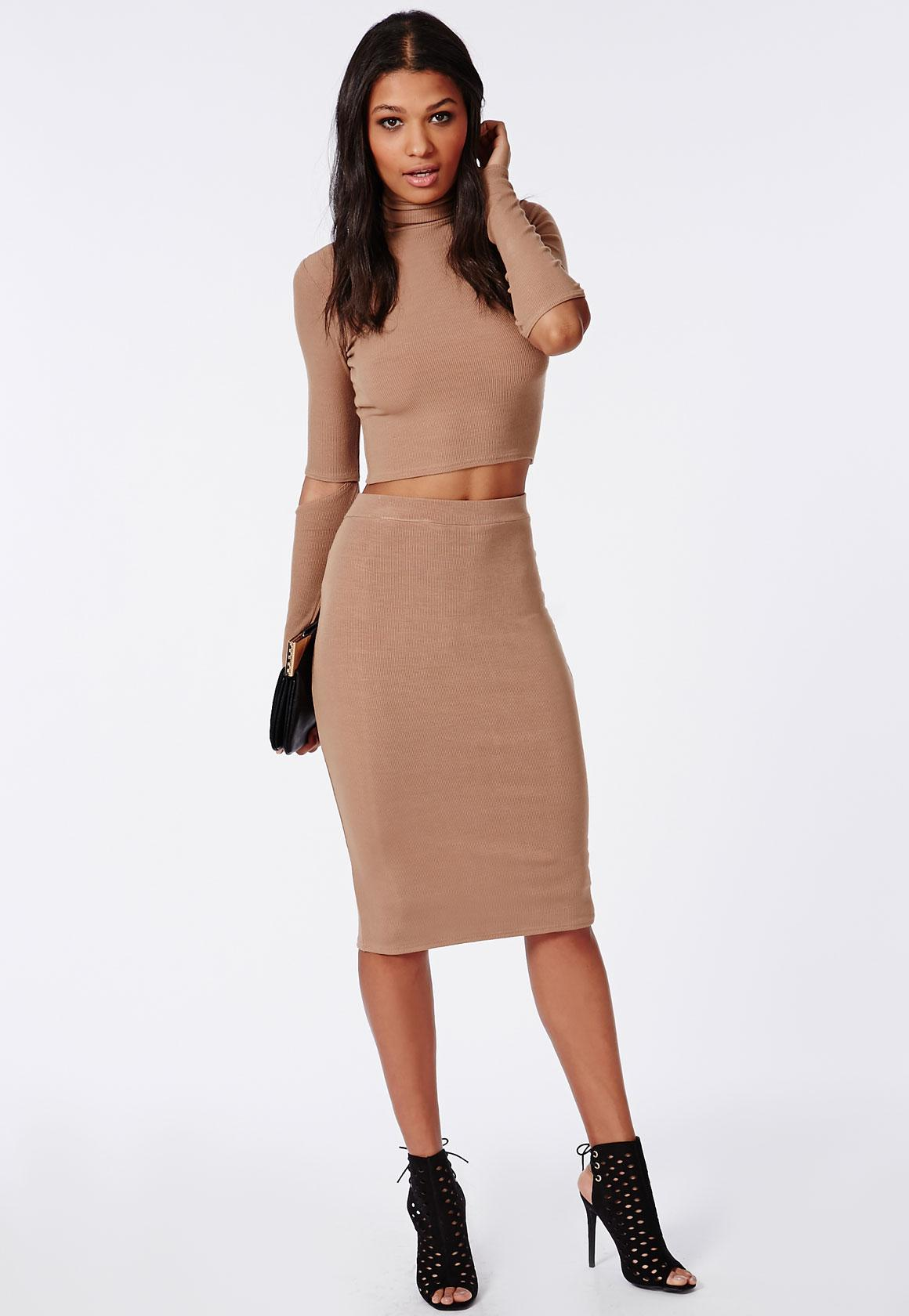 Ribbed Bodycon Midi Skirt Camel | Missguided