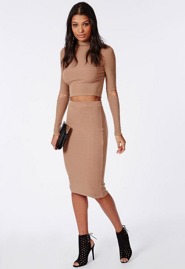 ribbed bodycon midi skirt camel missguided