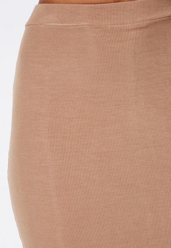 ribbed bodycon midi skirt camel missguided australia