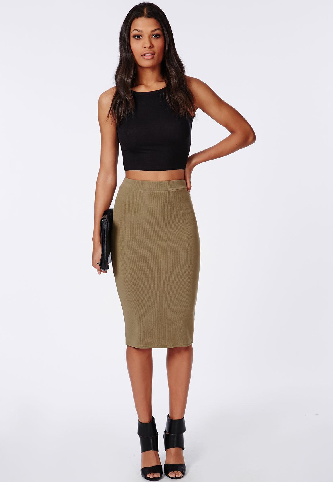 Ribbed Bodycon Midi Skirt Khaki - Skirts - Missguided