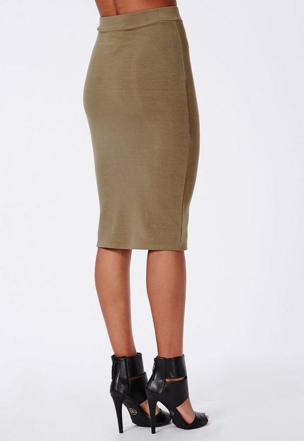 Ribbed Bodycon Midi Skirt Khaki | Missguided