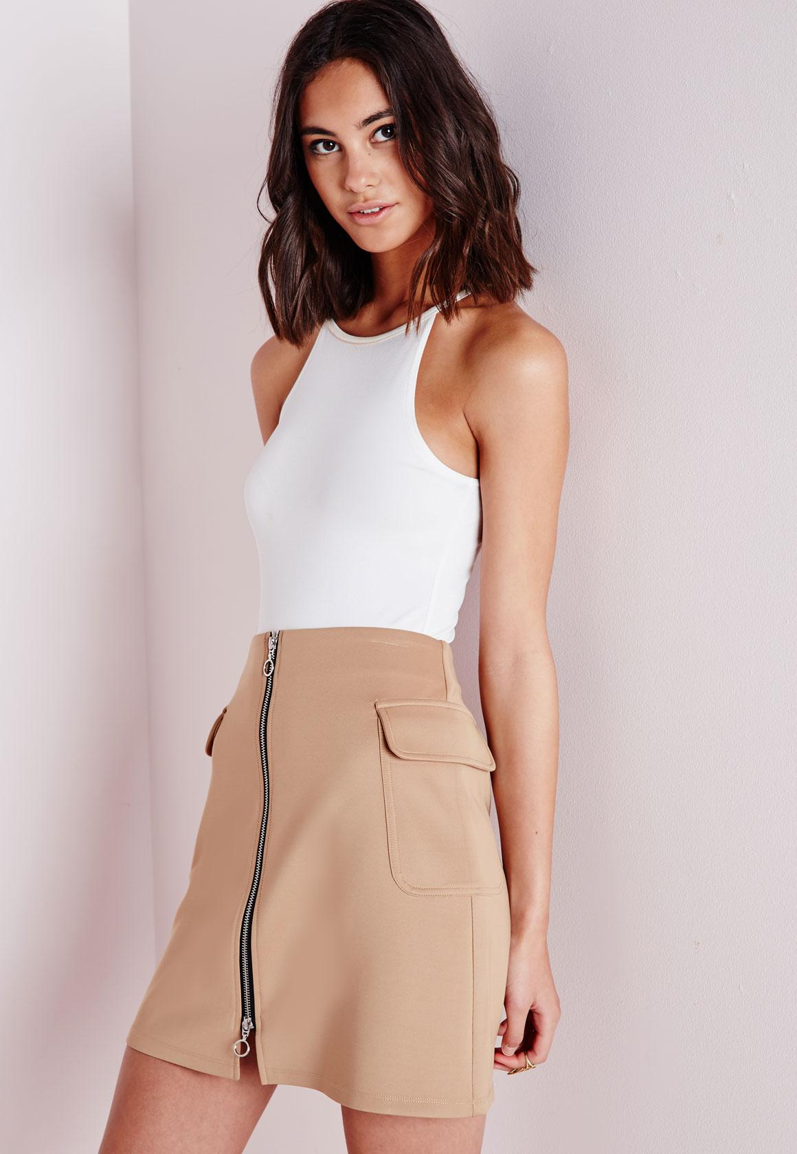 Front Zip Side Pocket Detail A Line Skirt Camel - Skirts - Missguided