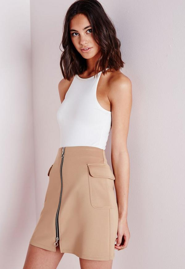 Front Zip Side Pocket Detail A Line Skirt Camel