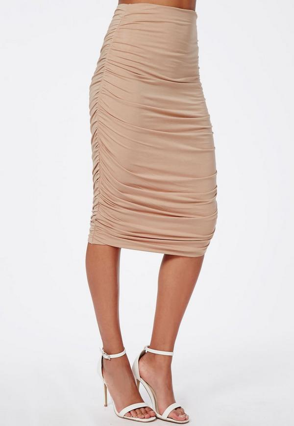 Ruched Seam Midi Skirt Nude Missguided