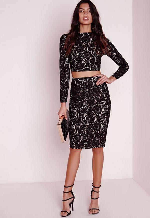 Zip Detail Lace Midi Skirt Black