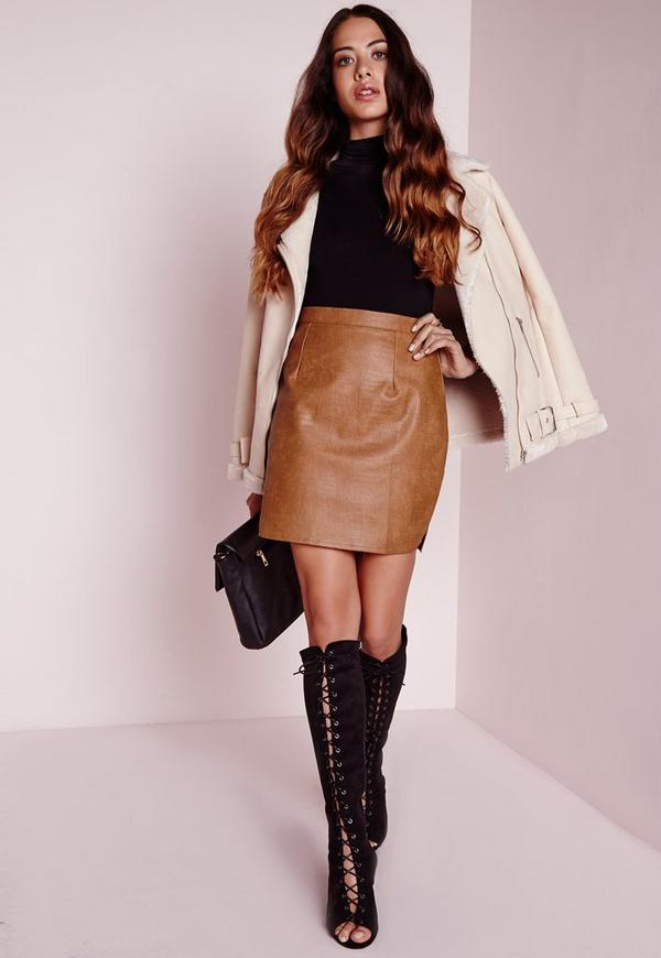 Faux Leather Snake Skin Mini Skirt Tan