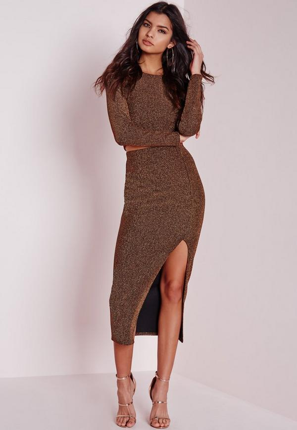 Lurex Rib Longline Midi Skirt Bronze