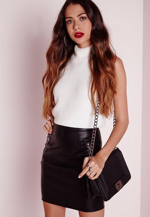 Zip Detail Faux Leather Mini Skirt Black