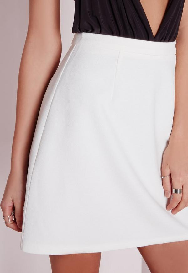 bonded textured a line mini skirt white missguided