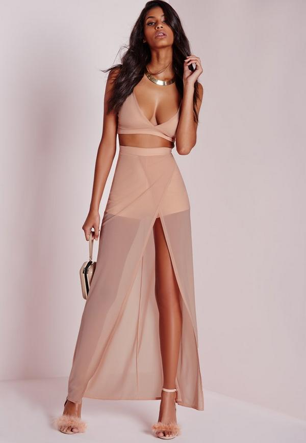 Mesh Wrap Over Maxi Skirt Nude