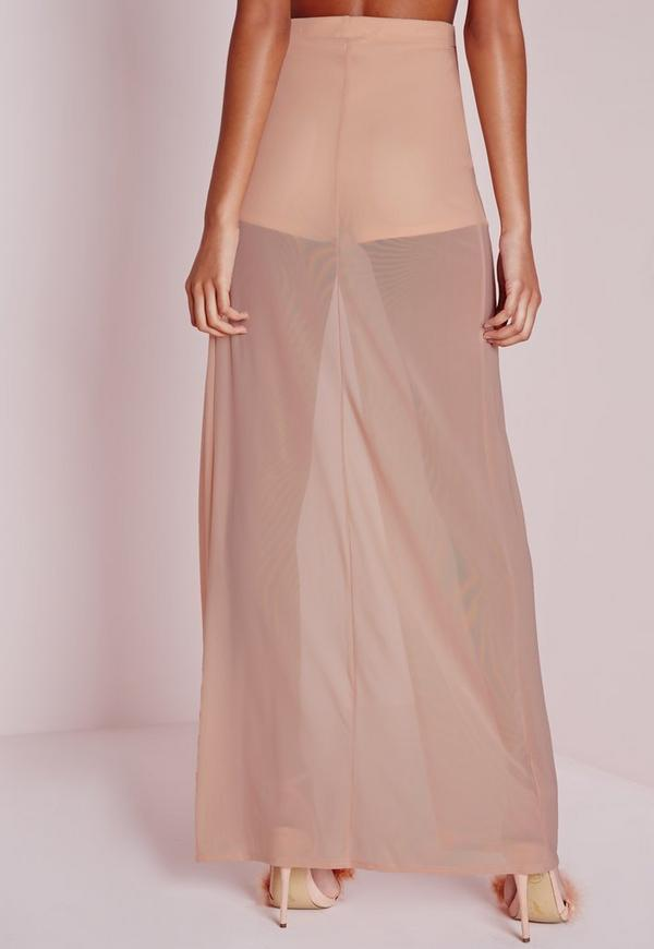 Mesh Wrap Over Maxi Skirt Nude - Skirts - Clothing
