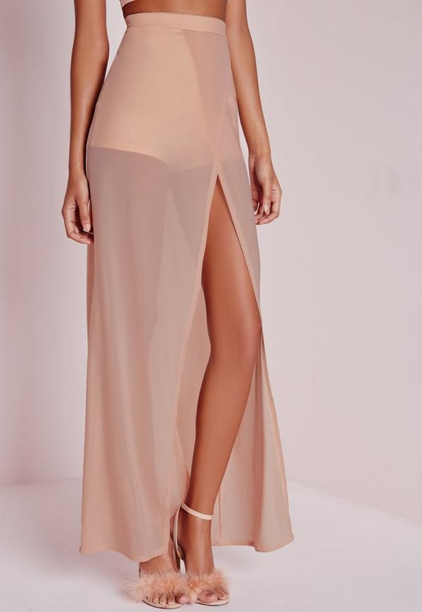 Mesh Wrap Over Maxi Skirt Nude | Missguided