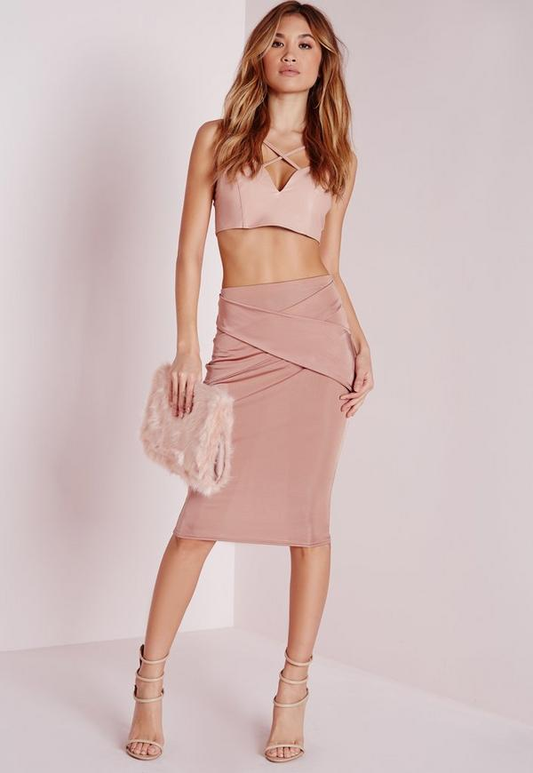 Wrap Front Detail Midi Skirt Pink