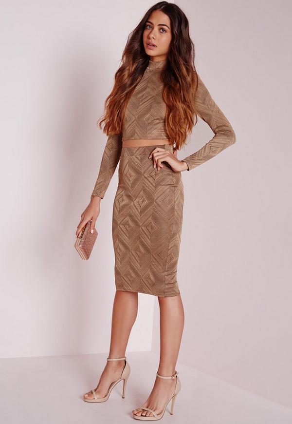Diamond Midi Skirt Camel
