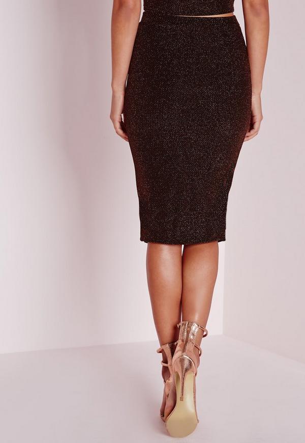 wrap front glitter midi skirt bronze missguided