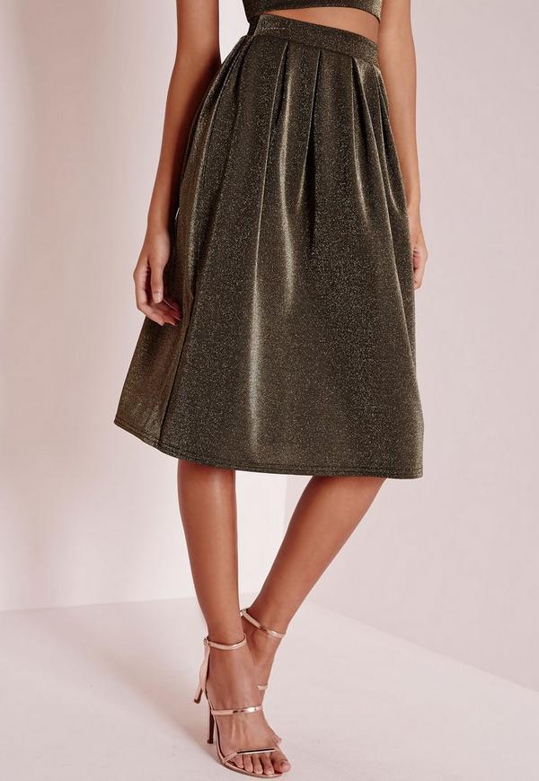 glitter midi skirt gold missguided