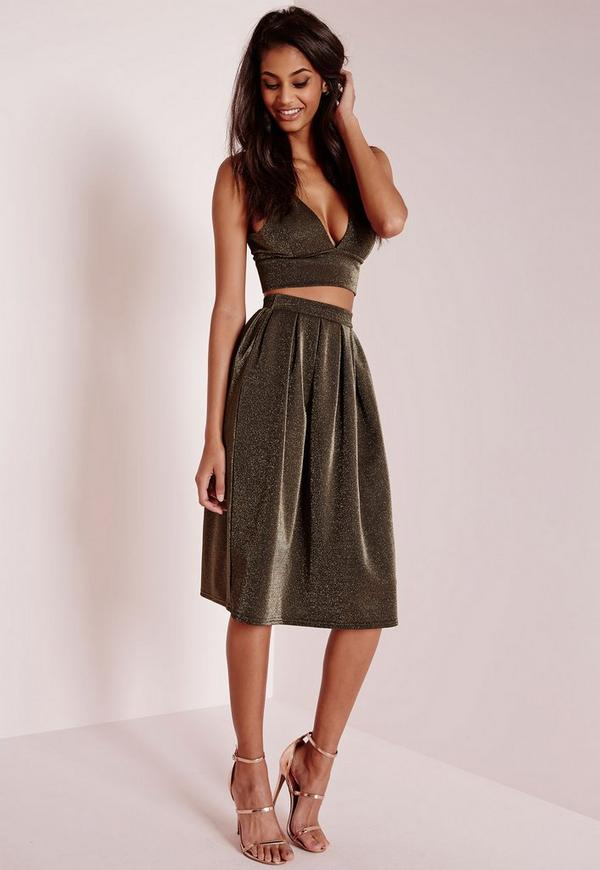 Glitter Full Midi Skirt Gold - Skirts - Co-Ords - Missguided