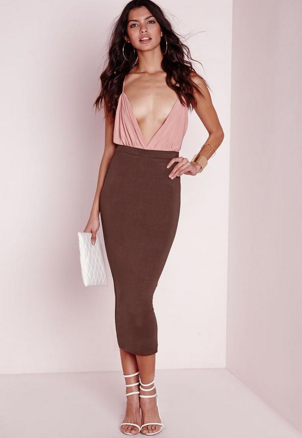 Longline Jersey Midi Skirt Chocolate Brown