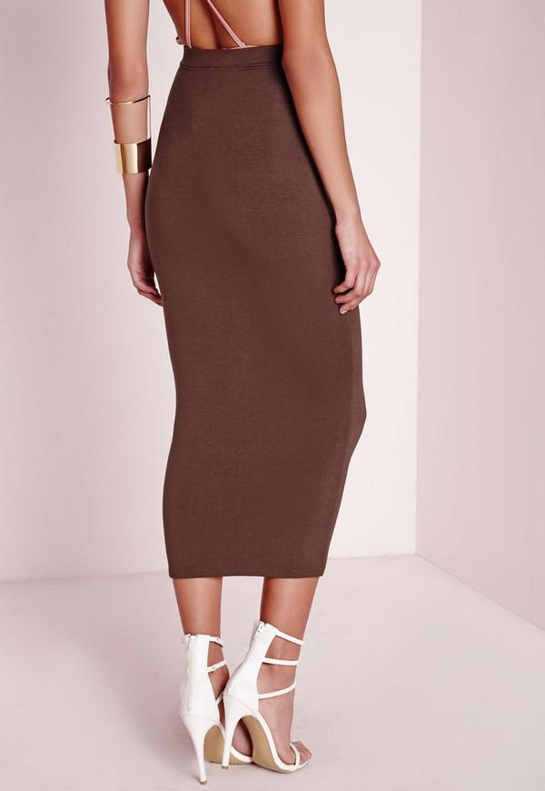 Longline Jersey Midi Skirt Chocolate Brown | Missguided