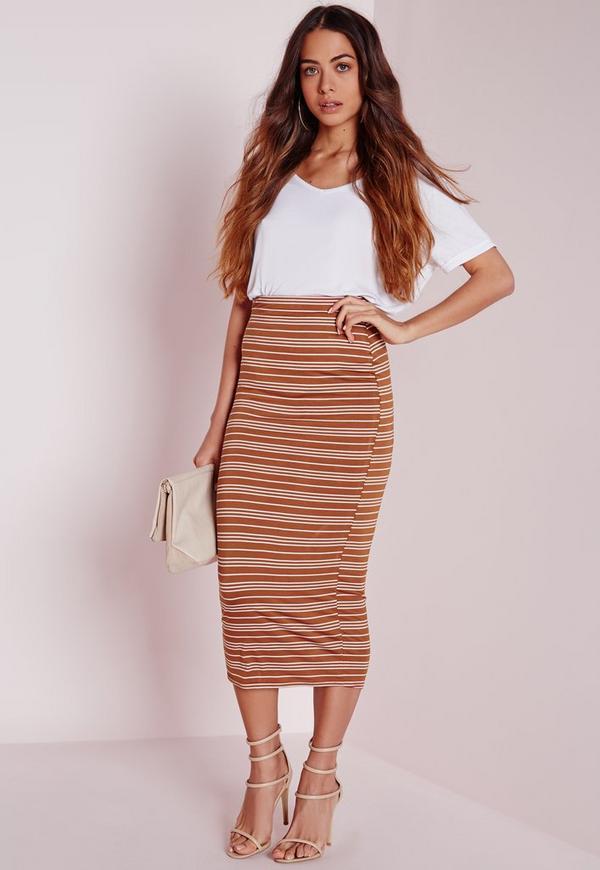 Sheer Stripe Longline Midi Skirt Rust