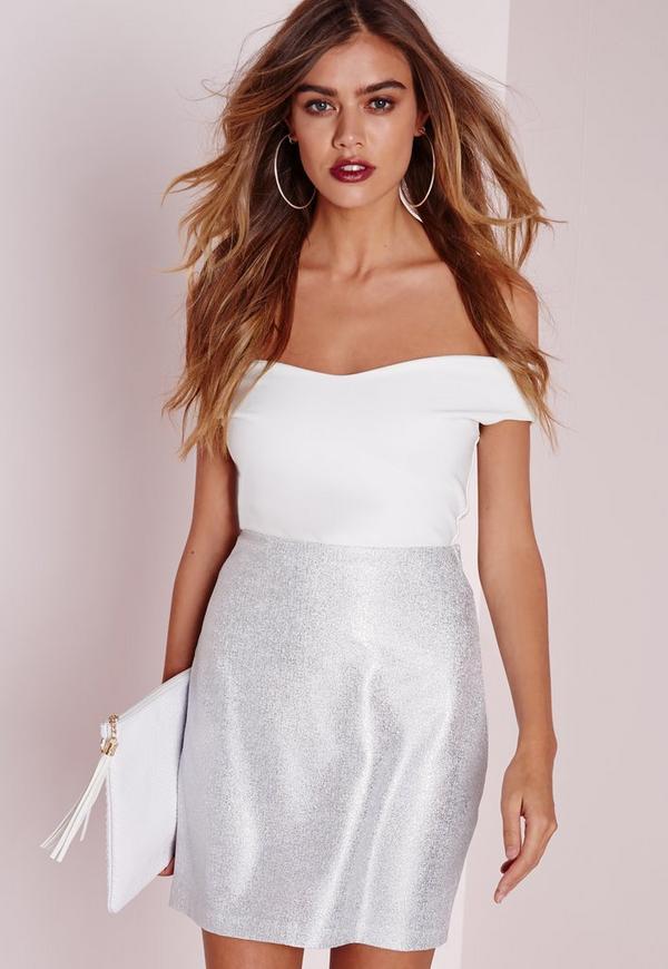 Foil Mini Skirt Silver