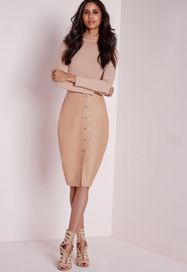 Button Front Faux Leather Midi Skirt Nude