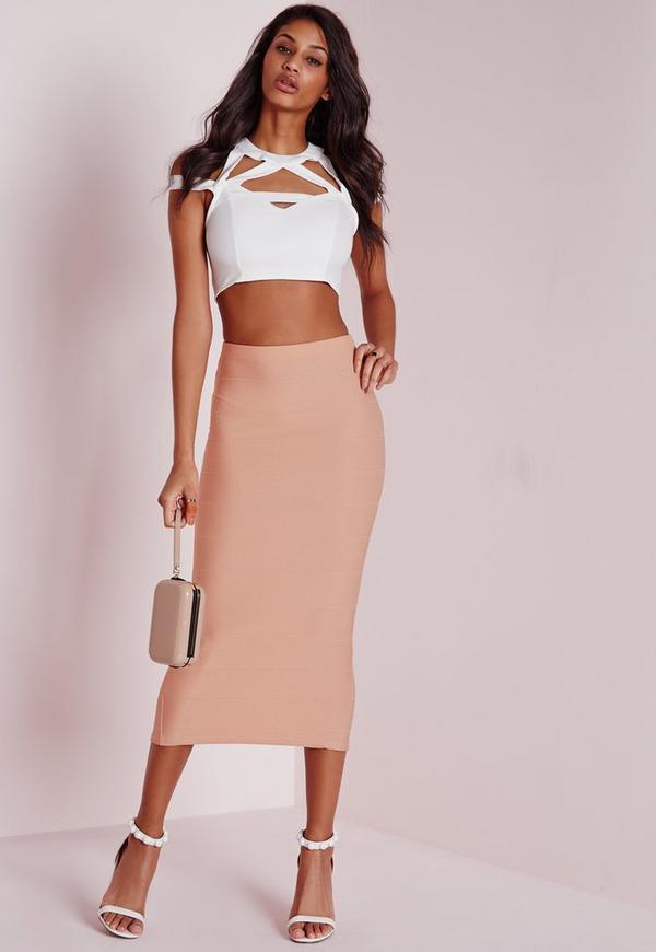 Longline Bandage Midi Skirt Nude