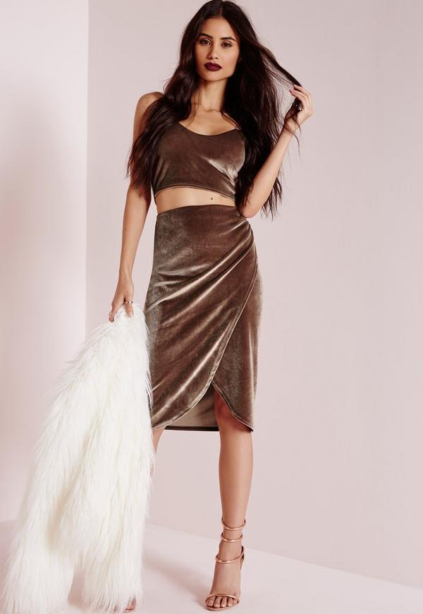 Velvet Wrap Midi Skirt Nude