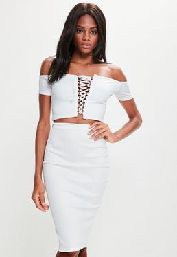White Bandage Ribbed Midi Skirt