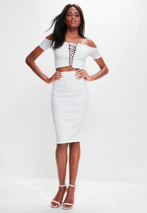 white bandage ribbed midi skirt missguided