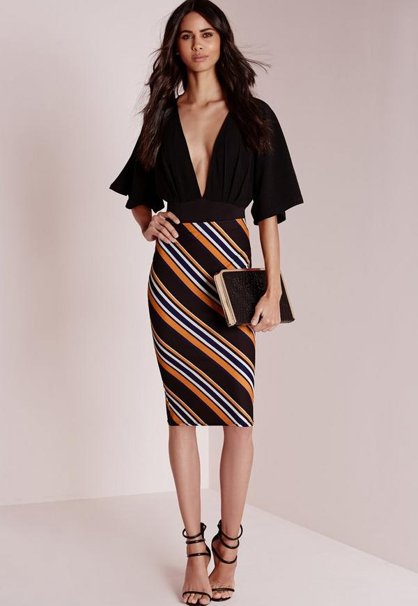 Diagonal Stripe Midi Skirt Mustard
