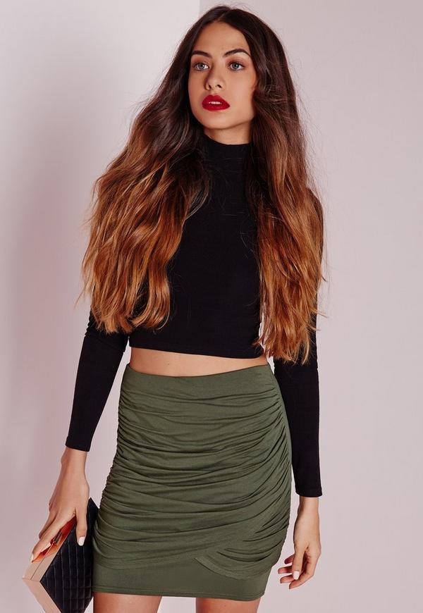 Ruched Front Jersey Mini Skirt Khaki