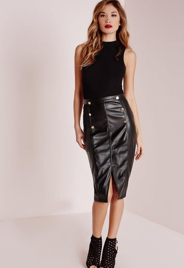 Button Front Faux Leather Midi Skirt Black