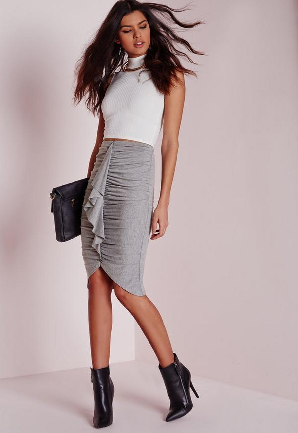 Frill Detail Gathered Midi Skirt Grey