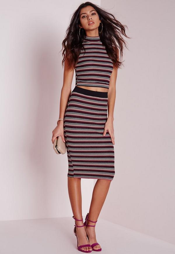 Lurex Stripe Midi Skirt Purple